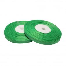 Атласная лента цвет зеленый, 6 мм