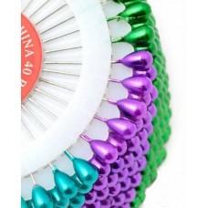 Булавки с цветными головками в форме капельки 40 шт.