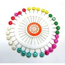 Булавки с цветными головками в форме цветочка, 30 шт.
