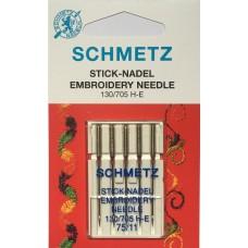 Иглы вышивальные Schmetz Embroidery 130/705 H-E, № 75