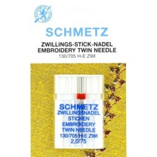 Двойная вышивальная игла Schmetz Twin Embroidery №75/2,0 ТЕСТ