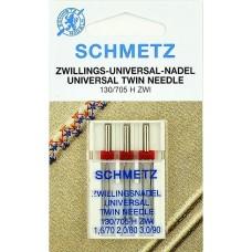 Двойные универсальные иглы Schmetz Universal Twin 130/705 H ZWI № 1,6/70, № 2,0/80, № 3,0/90