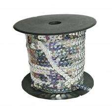 Пайетки на нитке в бобинах голографические, цвет серебристый