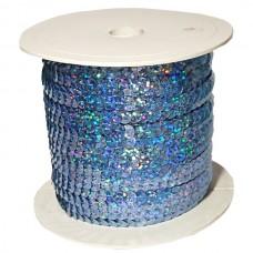 Пайетки на нитке в бобинах голографические, цвет светло-голубой