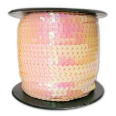 Пайетки на нитке в бобинах перламутровые, цвет персиковый