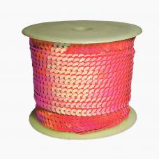 Пайетки на нитке в бобинах перламутровые, цвет ярко-розовый