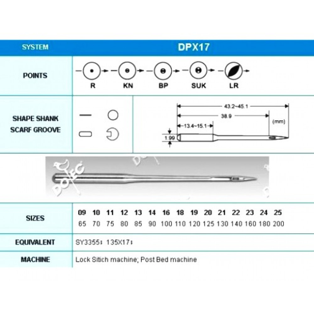 Промышленные швейные иглы Dotec DPx17 № 16/100 для колонковых и прямострочных машин, тяжелые ткани и кожаные изделия