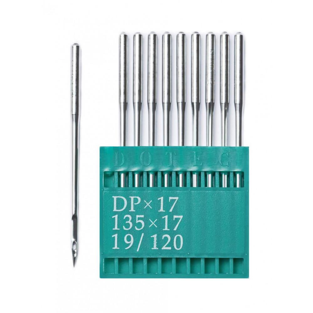 Промышленные швейные иглы Dotec DPx17 № 19/120 для колонковых и прямострочных машин, тяжелые ткани и кожаные изделия