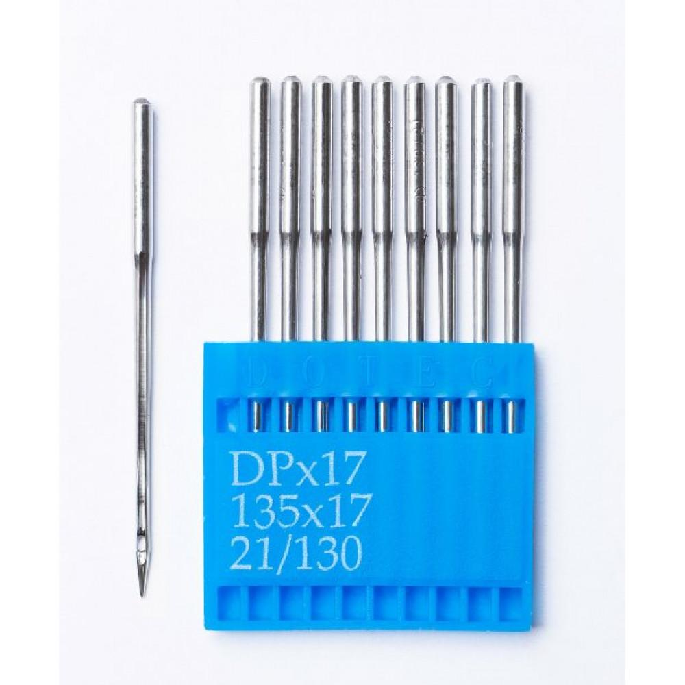 Промышленные швейные иглы Dotec DPx17 № 21/130 для колонковых и прямострочных машин, тяжелые ткани и кожаные изделия