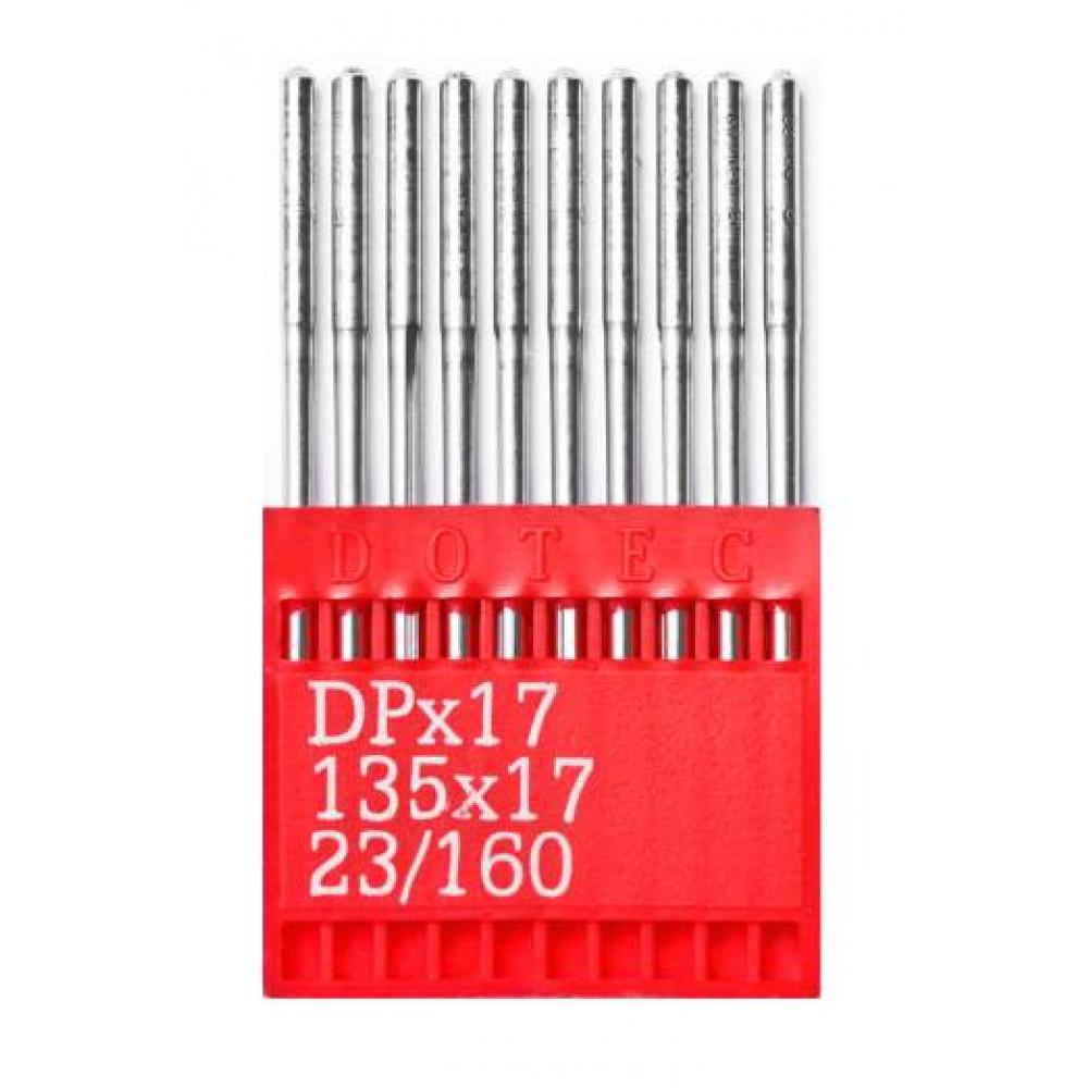 Промышленные швейные иглы Dotec DPx17 № 23/160 для колонковых и прямострочных машин, тяжелые ткани и кожаные изделия