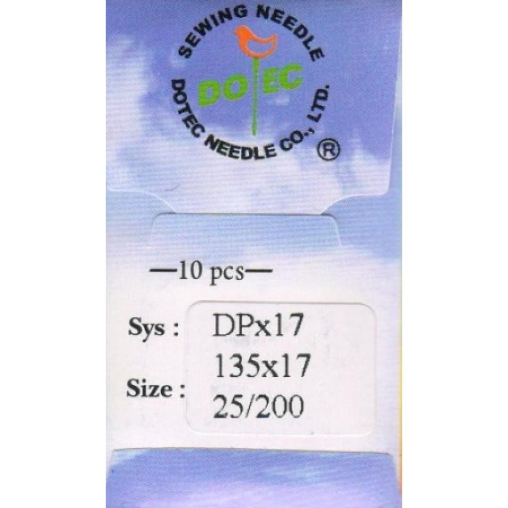 Промышленные швейные иглы Dotec DPx17 № 25/200 для колонковых и прямострочных машин, тяжелые ткани и кожаные изделия