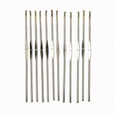 Крючок для вязания 1.0 мм, металл с золотым наконечником