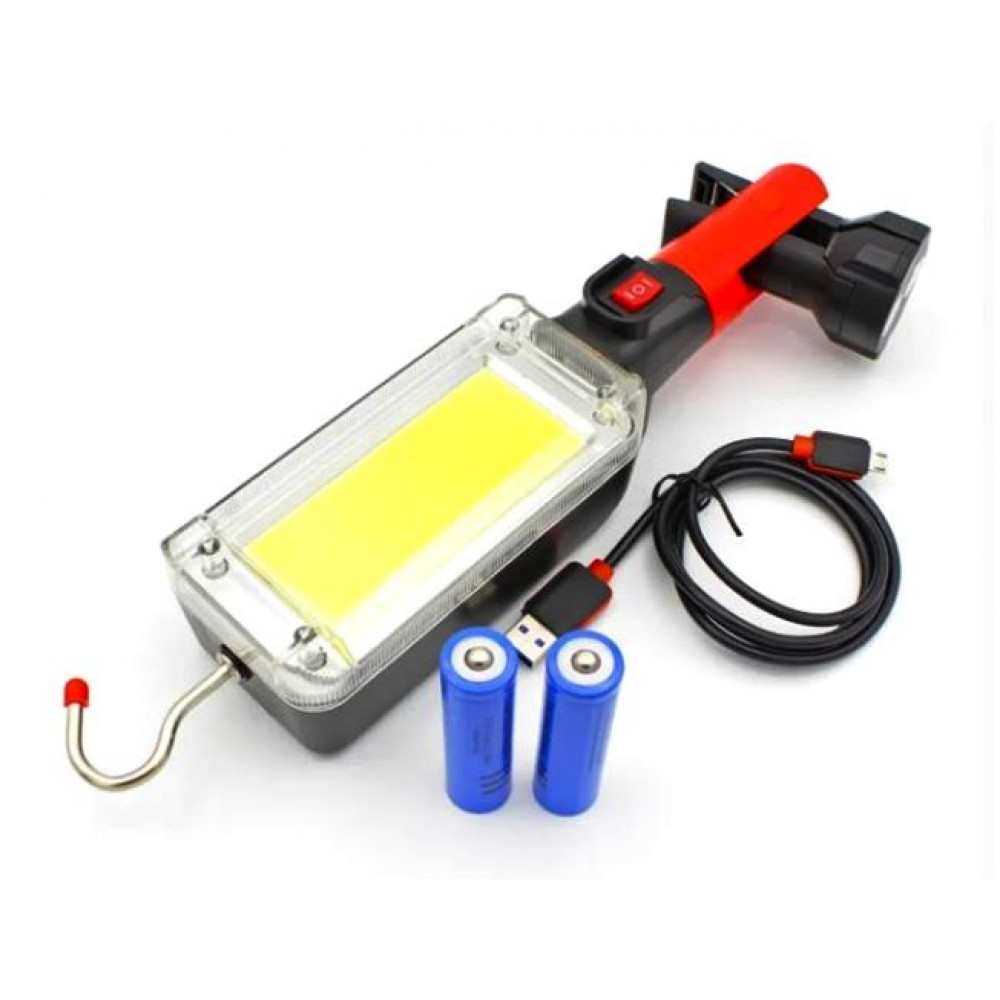 Фонарь WD-355 LED-переноска с магнитным креплением, прищепкой с магнитами и движимым крюком для СТО