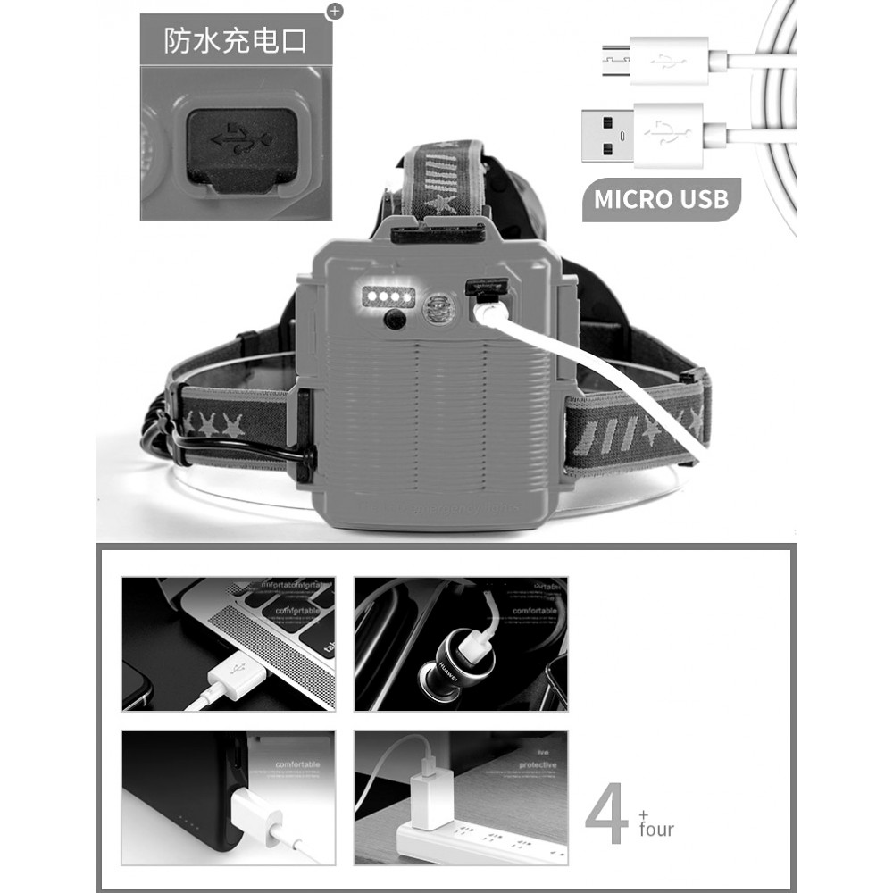 Фонарь прожектор налобный WD-144, P50, Zoom