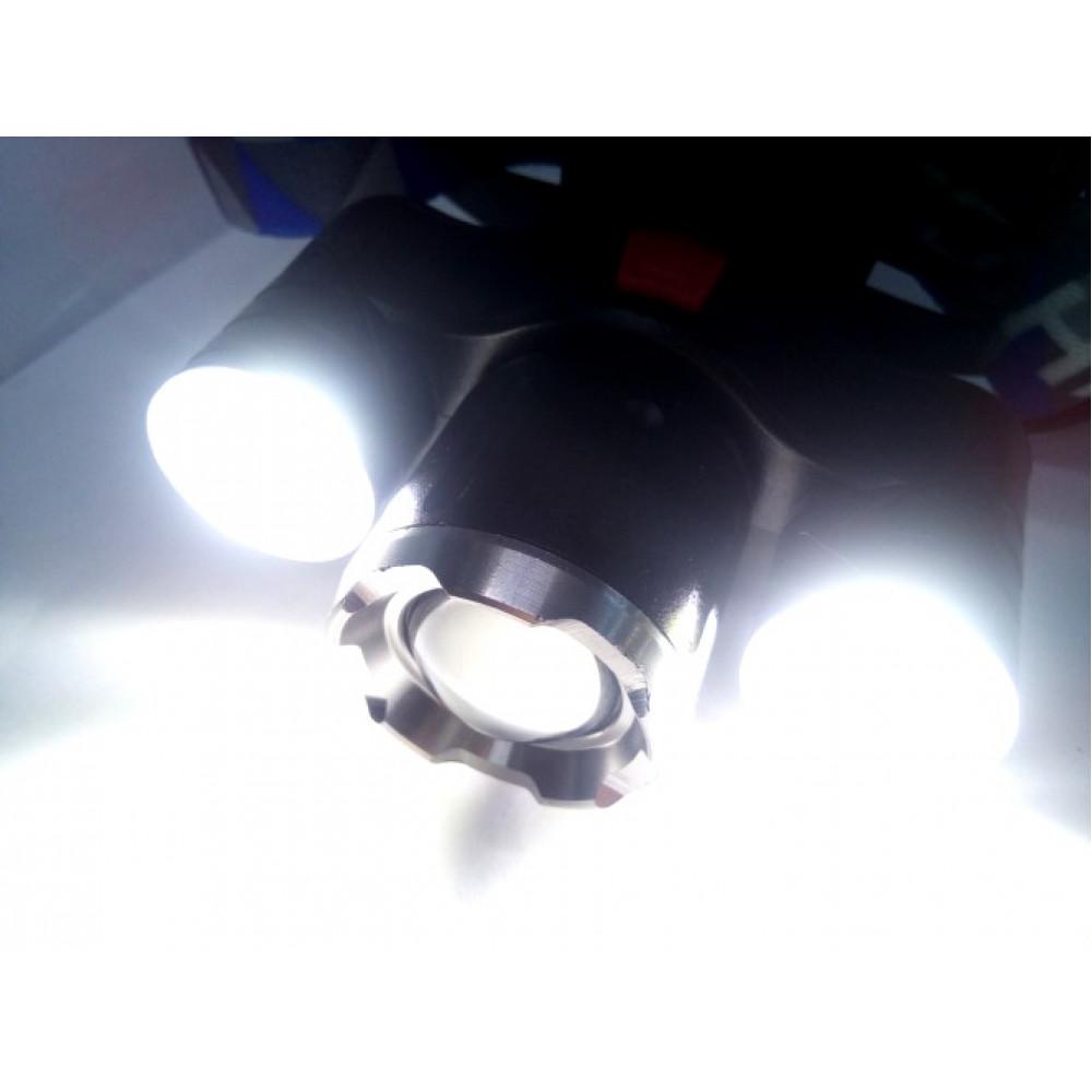 Фонарь налобный WD130 аккумуляторный X-Balog ЗУ microUSB T6+Cob Zoom